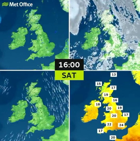 The temperature, wind and cloud forecasts for the UK today . Provider: Met Office