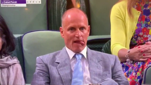Woody Harrelson at Wimbledon is possibly more entertaining than the match Videograb https://twitter.com/TylerRuinsTV/status/1150131327363981312
