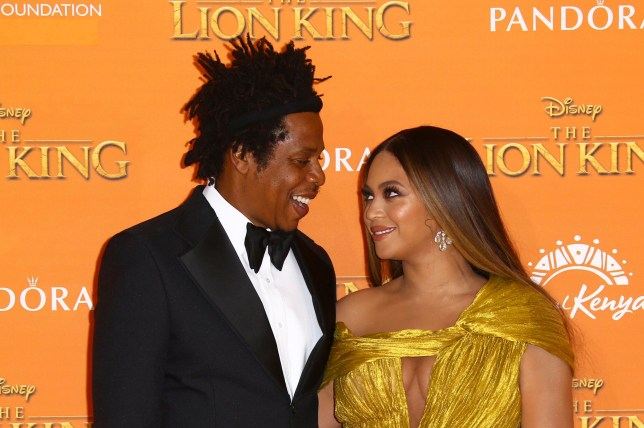 Jay-Z and Beyonce at the UK premiere of The Lion King