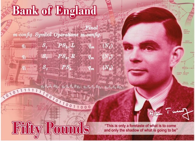 Fifty Pound featuring Second World War code-breaker Alan Turing