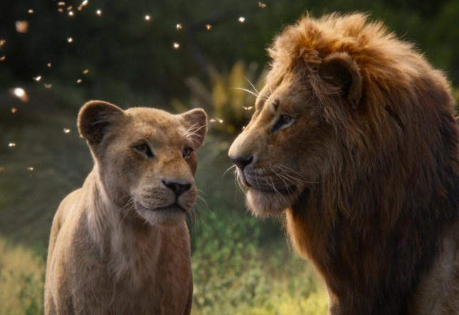 "This image released by Disney shows Nala, voiced by Beyonc?? Knowles-Carter, left, and Simba, voiced by Donald Glover in a scene from ""The Lion King."" (Disney via AP)"