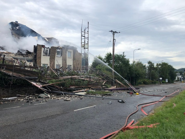 Handout photo taken with permission from the twitter feed of Avon Fire and Rescue Service of the scene on the A4108, where a Premier Inn hotel has partially collapsed during a massive fire. PRESS ASSOCIATION Photo. Issue date: Thursday July 18, 2019. Emergency services were called to Cribbs Causeway in Bristol at about 1.15pm on Wednesday and a major incident was declared shortly after 5pm. See PA story FIRE PremierInn. Photo credit should read: Avon Fire and Rescue Service/Twitter/PA Wire NOTE TO EDITORS: This handout photo may only be used in for editorial reporting purposes for the contemporaneous illustration of events, things or the people in the image or facts mentioned in the caption. Reuse of the picture may require further permission from the copyright holder.