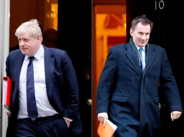 (FILES) In this file photo taken on January 23, 2018 A combination of file pictures created in London on June 21, 2019 shows Britain's Foreign Secretary Boris Johnson (L) leaving after attending the weekly cabinet meeting at number 10 Downing Street, in central London on January 23, 2018 and Britain's Foreign Secretary Jeremy Hunt leaving having attended the weekly cabinet meeting at 10 Downing street in London on January 22, 2019. - The new leader of the Conservative Party and new UK Prime Minister will be announced on July 23, 2019. (Photo by Tolga AKMEN / AFP)TOLGA AKMEN/AFP/Getty Images