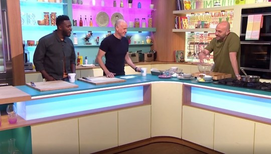 Picture: Channel 4 Sunday Brunch losing it as they put mayonnaise in cake