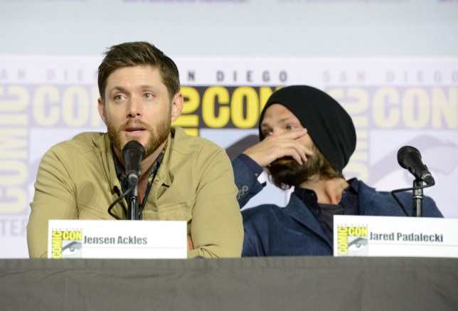 """SAN DIEGO, CALIFORNIA - JULY 21: Jensen Ackles and Jared Padalecki speak at the """"Supernatural"""" Special Video Presentation and Q&A during 2019 Comic-Con International at San Diego Convention Center on July 21, 2019 in San Diego, California. (Photo by Albert L. Ortega/Getty Images)"""