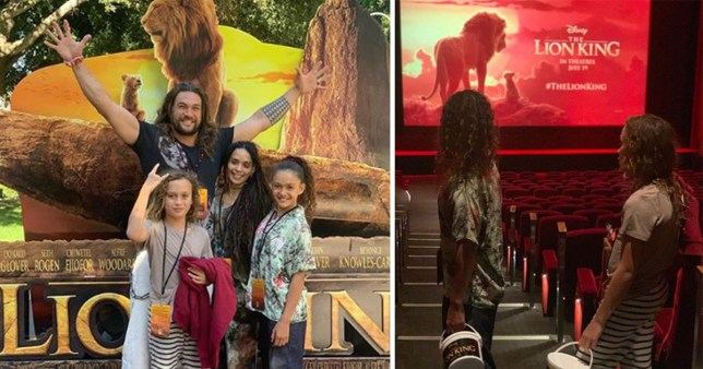 Jason Momoa and Lisa Bonet at The Lion King screening