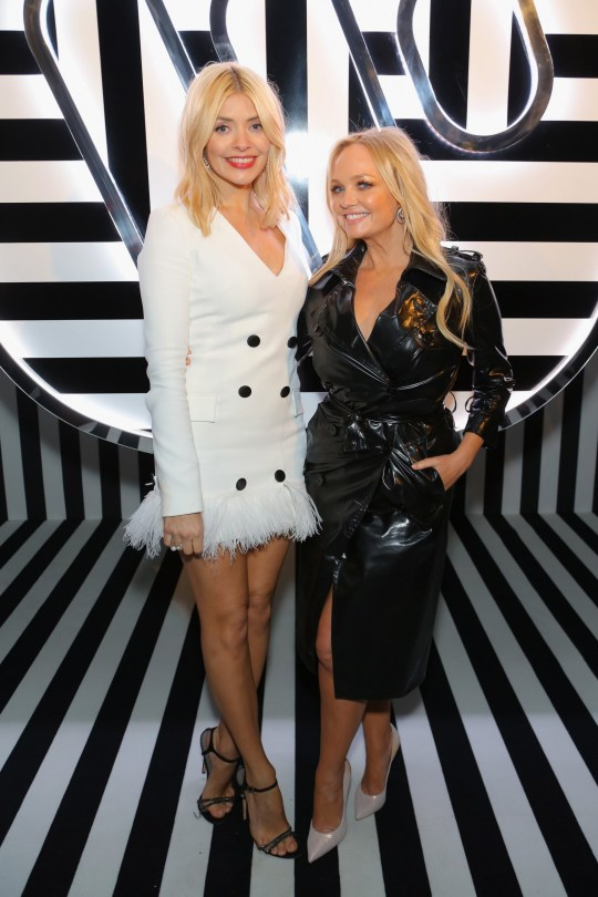 LONDON, ENGLAND - FEBRUARY 21: Emma Bunton (R) and Holly Willoughby attend the Brits Awards 2018 After Party hosted by Warner Music Group, Ciroc and British GQ at Freemasons Hall on February 21, 2018 in London, England. (Photo by David M. Benett/Dave Benett/Getty Images for Warner Music Group)