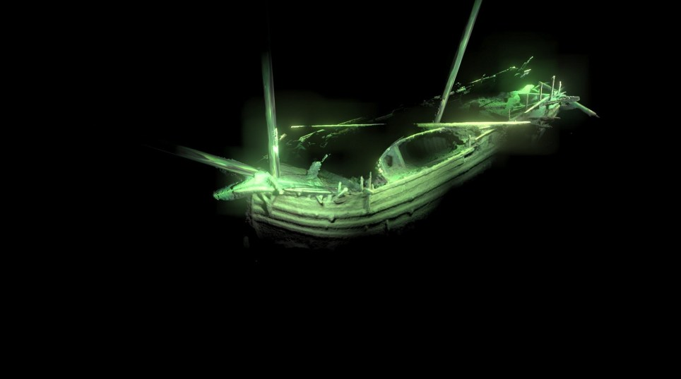 PICTURED: Photogrammetric model of the ships bow showing the ships boat still lying on deck. The remains of a 500 year old ship that is so 'astonishingly preserved' it looks like like it 'sank yesterday' were revealed today following its discovery at the bottom of the ocean. Experts found the incredible shipwreck while scanning the icy depths of the Baltic Sea with a sonar device. Now, further investigations by a team of international scientists, including a group from the University of Southampton, have revealed its pristine remains using underwater robotic technology. The vessel, which dates back to the Late 15th or early 16th Century, still has its masts in place, swivel guns on deck and even parts of its rigging remain. ? Deep Sea Productions/MMT/SolentNews & Photo Agency UK +44 (0) 2380 458800