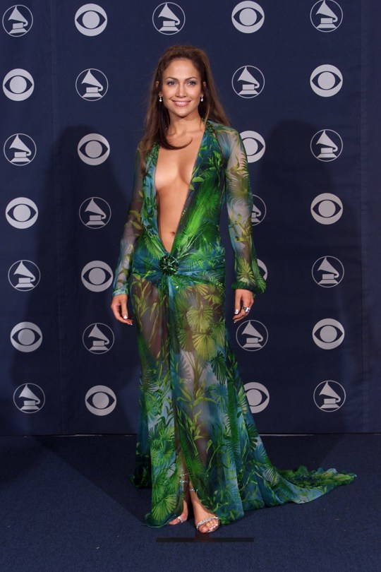 a18f5041 Jennifer Lopez's green Versace Grammys dress is made into trainers ...