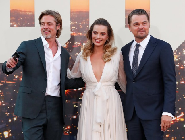 Leonardo DiCaprio, Brad Pitt and Margot Robbie at the premiere of Once Upon a Time In Hollywood