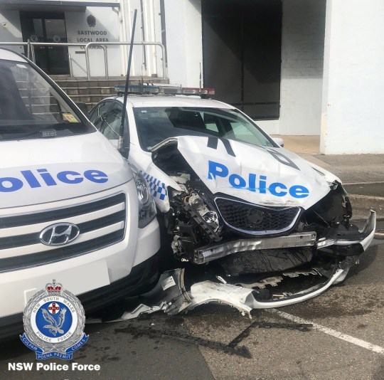 REFILE - ADDING RESTRICTIONS A NSW Police handout photo shows the wreckage of a police patrol car after it was hit by a van laden with methamphetamines outside a police station in Eastwood, north of Sydney in Australia July 22, 2019. Picture taken July 22, 2019. New South Wales Police Force/Handout via REUTERS ATTENTION EDITORS - THIS IMAGE HAS BEEN SUPPLIED BY A THIRD PARTY. NO RESALES. NO ARCHIVES. MANDATORY CREDIT