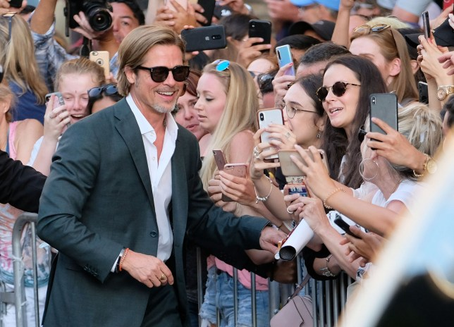 Brad Pitt with fans at Once Upon A Time In Hollywood premiere