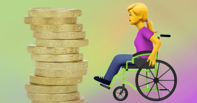 Split image of pound coins on a green and purple background, along with the new wheelchair emoji