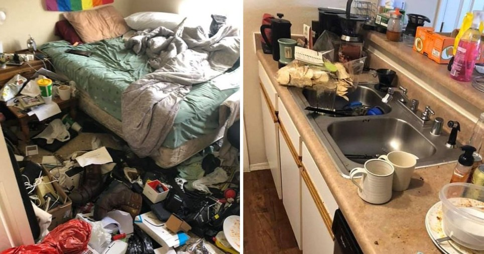 Stomach-churning snaps of unwashed dishes and a bedroom covered in rotting food makes Facebook users want to 'scream and scream'