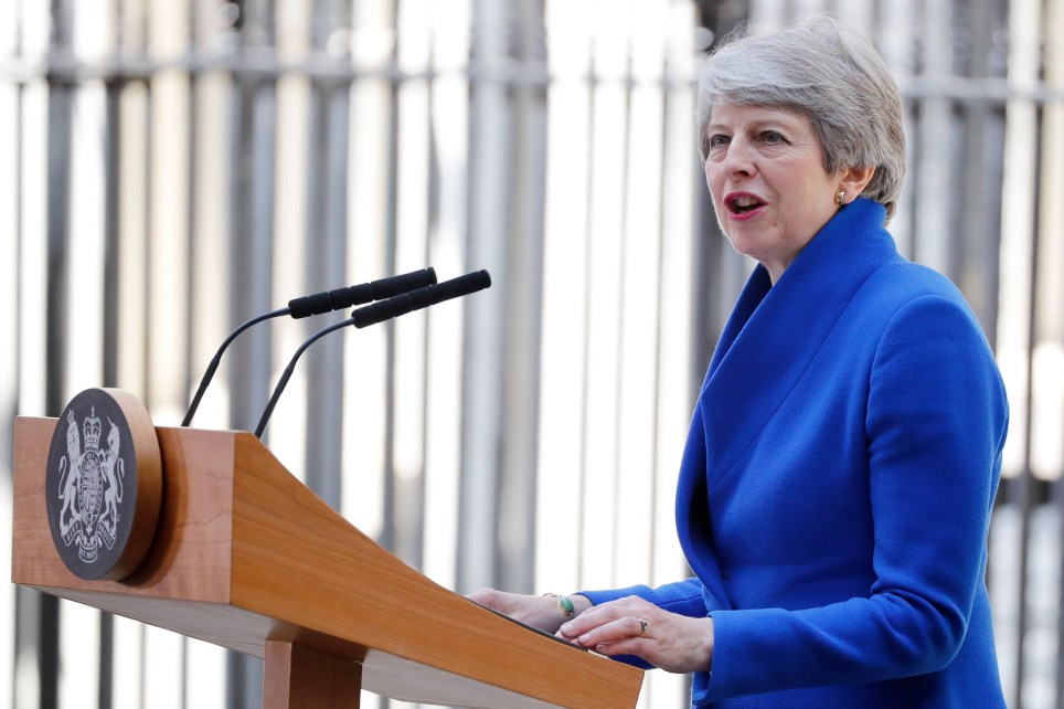 Britain's outgoing prime minister Theresa May gives a speech outside 10 Downing street in London on July 24, 2019 before formally tendering her resignation at Buckingham Palace. - Theresa May is set to formally resign on July 24 after taking her final PMQs in the House of Commons with Boris Johnson taking charge at 10 Downing Street on a mission to deliver Brexit by October 31 with or without a deal. (Photo by Tolga AKMEN / AFP)TOLGA AKMEN/AFP/Getty Images