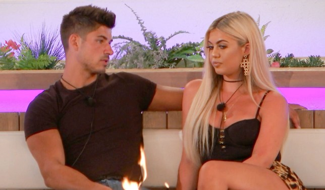 Editorial Use Only. No Merchandising. No Commercial Use. Mandatory Credit: Photo by ITV/REX (10347742l) Anton Danyluk and Belle Hassan make their decision. 'Love Island' TV Show, Series 5, Episode 47, Majorca, Spain - 26 Jul 2019 ? Anton and Belle reach new heights as they take to the skies for their final date ? The boys go undercover in today's secret challenge ? Molly-Mae and Tommy step into a fairytale for their final date ? The islanders each choose the couple they think should be dumped, but who will be at risk?