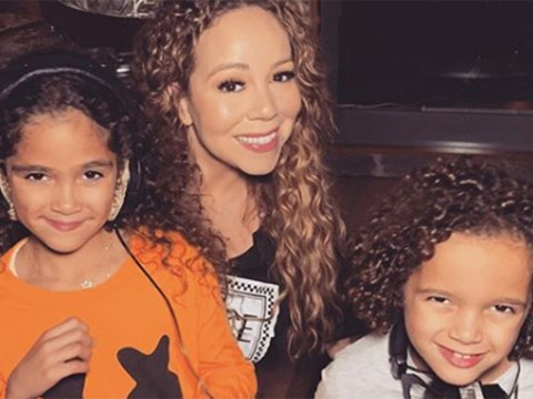Mariah Carey shows twins Monroe and Moroccan the ropes in the studio