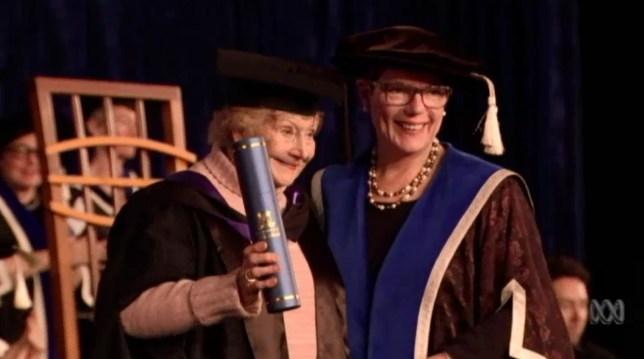 Inspiring 90-year-old Lorna Prendergast graduates in Australia