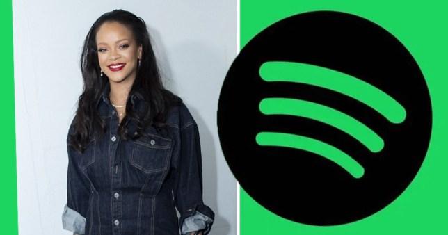 Rihanna with Spotify logo