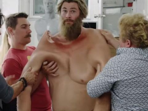 Watch Chris Hemsworth get into 70lb Thor fat suit in Avengers Endgame BTS