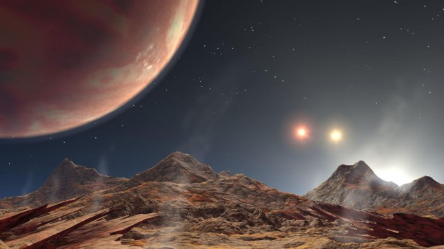An artist's impression from the moon of a gas giant planet with three suns (Nasa/JPL-Caltech)