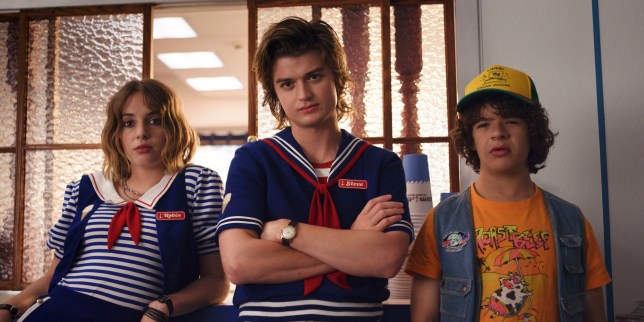 Undated handout photo issued by Netflix of the Stranger Things, the season three premieres globally on July 4 on Netflix. Cast from Left Maya Hawke, Joe Keery, Gaten Matarazzo. PRESS ASSOCIATION Photo. Issue date: Wednesday March 20, 2019. See PA story SHOWBIZ Stranger. Photo credit should read: Netflix/PA Wire NOTE TO EDITORS: This handout photo may only be used in for editorial reporting purposes for the contemporaneous illustration of events, things or the people in the image or facts mentioned in the caption. Reuse of the picture may require further permission from the copyright holder.