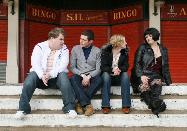 """Television programme: Gavin And Stacey. Picture Shows: (L-R) Smithy (JAMES CORDEN), Gavin (MATHEW HORNE), Stacey (JOANNA PAGE), and Nessa (RUTH JONES) TX: BBC THREE, TBC Gavin is an ordinary boy from Essex; Stacey is an ordinary girl from Barry, South Wales. They've spoken on the phone every day at work for months but they've never actually met... until now, as BBC Three's new character-driven comedy begins. Written by and starring Ruth Jones (Nighty Night, Little Britain) and James Corden (The History Boys), the series also features Mathew Horne (Catherine Tate, Roman's Empire), Joanna Page (Gideon's Daughter, Love Actually), Rob Brydon, Alison Steadman, Larry Lamb and Melanie Walters. When Gavin and Stacey finally meet, and their ordinary worlds collide, viewers see through their friends, their family and their differences that there's no such thing as ordinary after all. Warning: Use of this copyright image is subject to Terms of Use of BBC Digital Picture Service. In particular, this image may only be used during the publicity period for the purpose of publicising """"GAVIN & STACEY"""" and provided the BBC is credited. Any use of this image on the internet or for any other purpose whatsoever, including advertisiging or other commercial uses, requires the prior written approval of the copyright holder."""