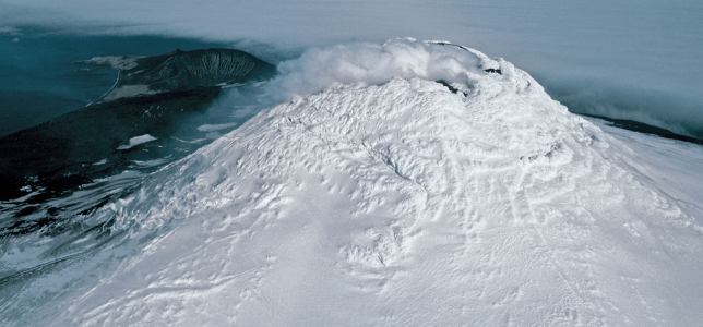 Aerial photograph of Mount Michael, a volcanic mountain that's hiding a lava lake (Photo: Pete Bucktrout, British Antarctic Survey).