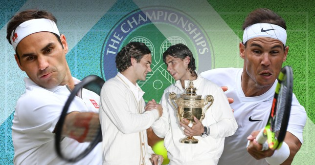 Roger Federer and Rafael Nadal with their 2008 Wimbledon trophies