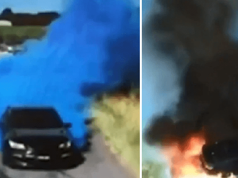 Gender reveal goes horribly wrong when car emitting blue smoke catches fire