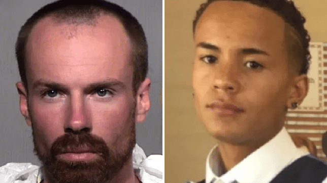 Michael Paul Adams, left, is said to have fatally stabbed Elijah Al-Amin, right, then claimed he did so because the teenager's rap music made him feel unsafe
