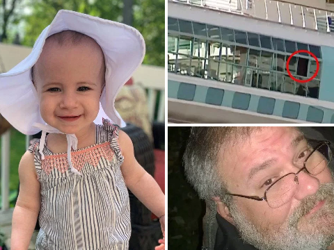 Toddler fell to death off cruise ship 'after grandpa lifted her onto open railing thinking there was glass behind it'