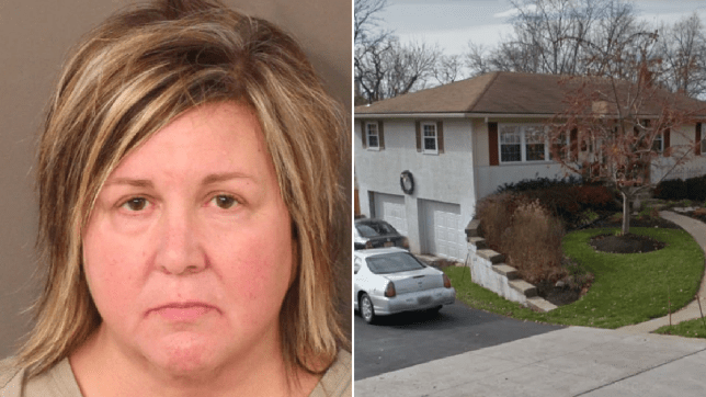 Kimberly Hignite mugshot next her the home property records reported she owned on White Road