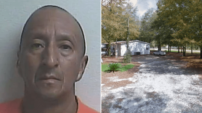 Mugshot of suspected penis chopper Alex Bonilla and photo of street where assault took place