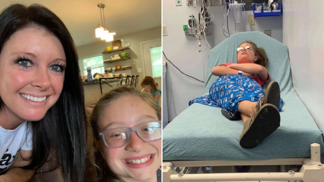 Picture of Alicia Phillips and her sister Gracie Brown, and picture of Gracie Brown on a hospital bed