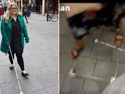 Visually-impaired historian films commuters shoving and stomping on her cane
