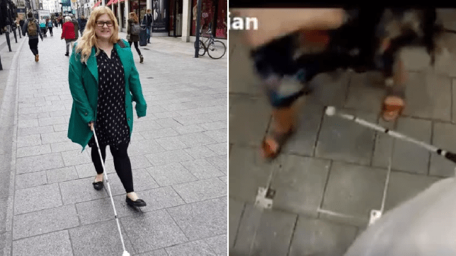 Photo of Dr Amy Kavanagh next to video grab of woman tripping over her cane