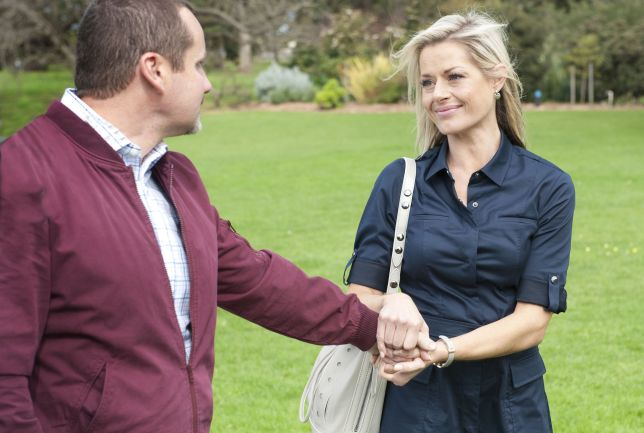 Madeleine West as Dee Bliss and Ryan Moloney as Toadie in Neighbours