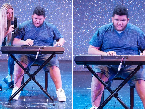 Katie Price is proud as punch as son Harvey, 17, plays keyboard at Autism's Got Talent