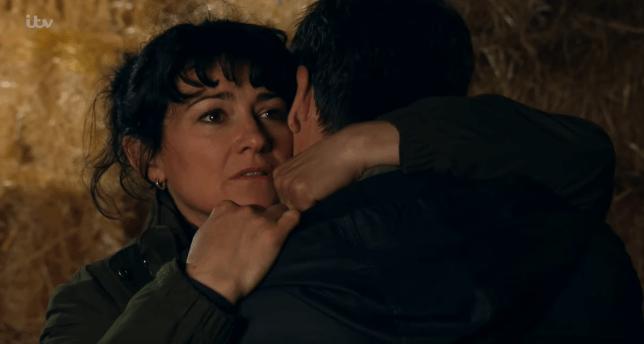 Moira hugs Cain in Emmerdale