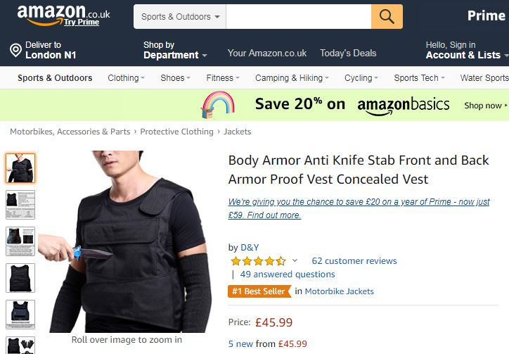 292c39d6454f48 Reviews on Amazon stab vests show harrowing reality of life on UK streets