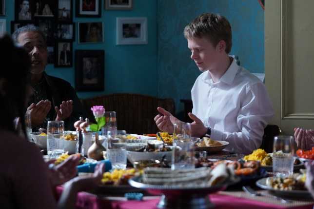 Arshad Ahmed (Madhav Sharma) and Bobby Beale (Clay Milner Russell) in EastEnders
