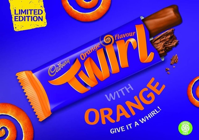 Cadbury is launching a limited edition chocolate orange flavour Twirl
