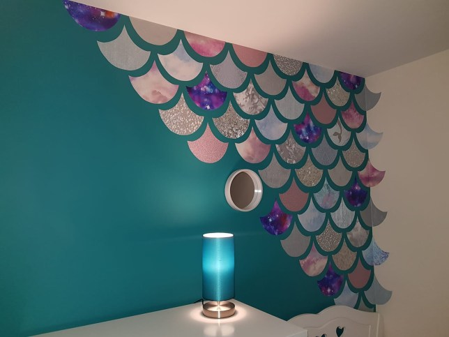 Mum creates amazing mermaid scales feature wall for just £18 ...