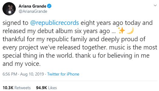 Ariana Grande reflects on career as she thanks fans for their