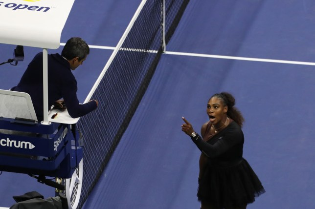 Serena Williams screams at Carlos Ramos during the 2018 US Open final