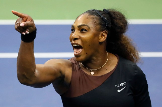 Serena Williams points angrily in the direction of umpire Carlos Ramos in the 2018 US Open final