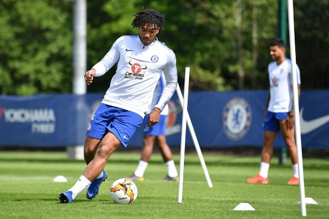 Reece James training with Chelsea ahead of their Europa League final