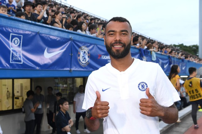 Ashley Cole poses during Chelsea's pre-season tour of Japan