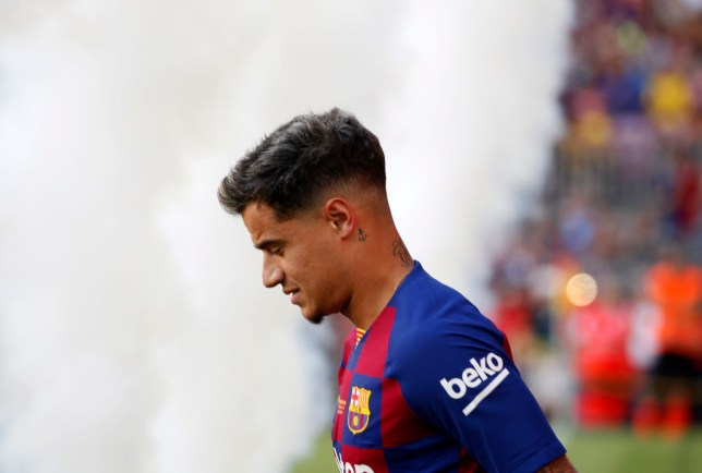 Philippe Coutinho taking to the field ahead of Barcelona's game against Arsenal